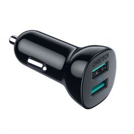 C0051-V5-BK|Choetech QC Dual USB-A Car Charger 3.0A in Black
