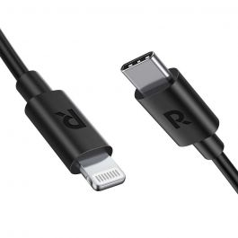RAVPower (1m) Charge Sync USB Cable With Type-C to Lightning Connector Black