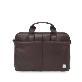 """Knomo - Stanford Leather Laptop Briefcase 13"""" - Brown"""