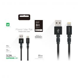 AT POWER MAX+ LIGHTNING TO USB-A CABLE 0.20M BLACK