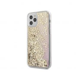 Guess - Liquid Glitter Case 4G Pattern Gradient Background For iPhone 12 Pro Max - Gold