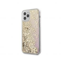 Guess - Liquid Glitter Case 4G Pattern Gradient Background For iPhone 12 Pro - Gold