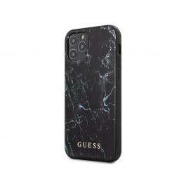 Guess - Marble Design Case for iPhone 12 Pro - Black